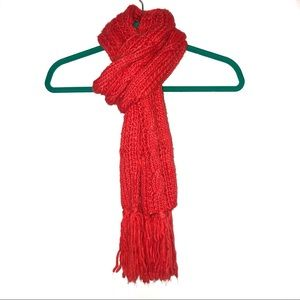 Red Nordstrom Modena Cable Knit Scarf